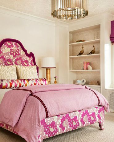 Lauren Nelson Design - Chic girl's bedroom with Oly Studio Grayson Chandelier, pink & purple floral headboard and built-ins w damask wallpaper.