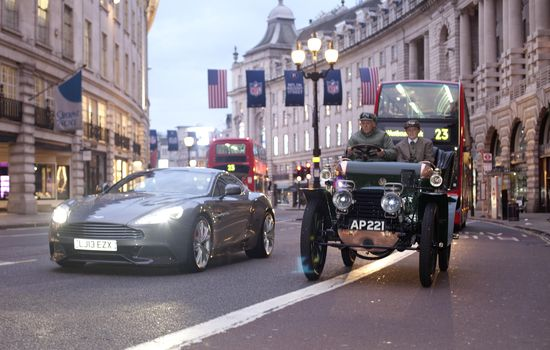The traffic-free day on Regent Street will take place from 10.30am to 4pm on Saturday 2 November and will celebrate 50 years of the Porsche 911 as well as luxury British sport car maker Aston Martin's centenary, represented here by the Aston Martin Vanquish described as the ultimate GT.