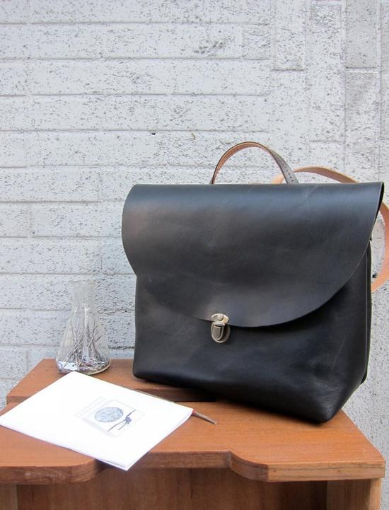 handmade leather backpack by blahblahblah