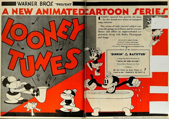Vintage Film Advert for first Bosco Looney Tunes Cartoon 1930 by CharmaineZoe, via Flickr