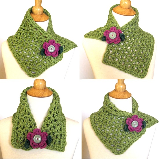 Crochet Scarf Cowl Green Organic Cotton with Free Purple  Flower Brooch. #crochet #scarf #cowl #ecofriendly