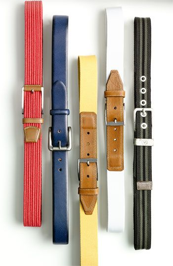 """""""A colorful belt is a cool way to update what you already have. Choose one that looks good with the other colors in your outfit but doesn't match your shoes."""" -Dennis Gaffney, Nordstrom Men's Buyer"""