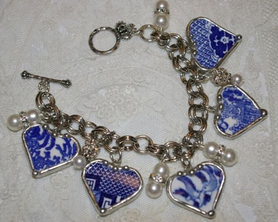 Broken China jewelry Blue Willow charm by THECHARMINGCHERUB, $138.00