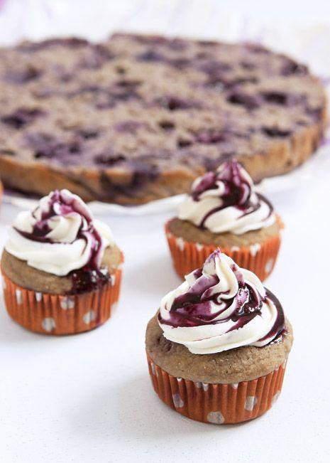 Pomegranate Blueberry Coconut Muffins with Cream Cheese Frosting #diet #fitness #health #breakfast #snack #dessert #baking #berries #Blueberries via FamilyFreshCookin...