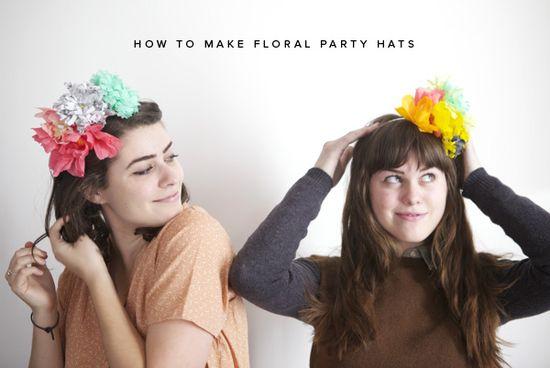 DIY Floral Party Hats