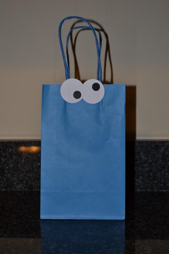 Cookie Monster treat bag, goodie bag, favor
