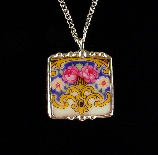 Vibrant pink roses Czech porcelain. Broken china jewelry pendant necklace. Made from a broken china plate by Dishfunctional Designs