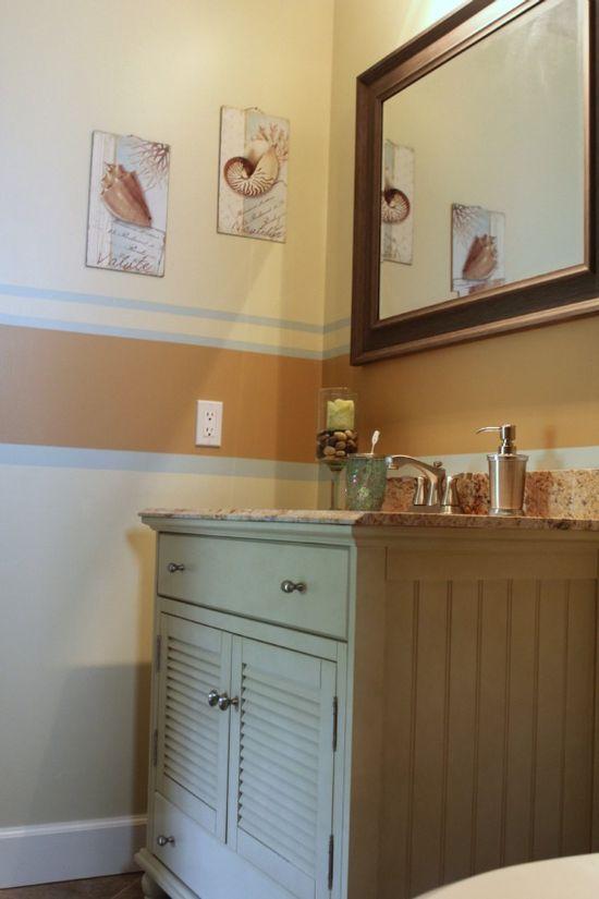 Coastal Bathroom Makeover - before & after pics, all DIY