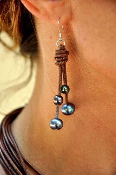 Freshwater Pearls and Leather Brown Peacock Earrings. $79.00, via Etsy.
