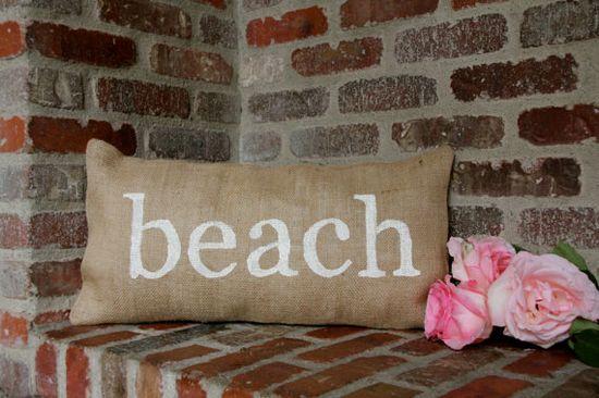 Burlap pillow  BEACH  coastal beach pillow  by butterflyabove, $35.00
