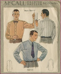 Impeccable Men's shirt pattern.  (via Around the vintage: Man Month Project: 1930s Man's Shirt)