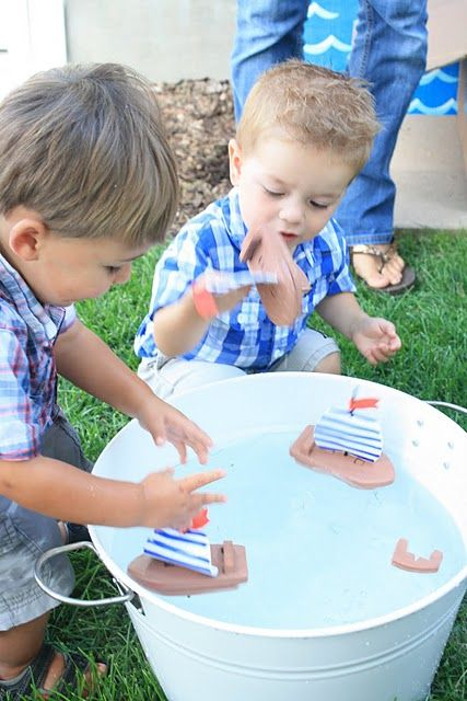 Nautical party activity - floating homemade boats