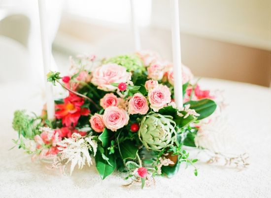 Pink and Green Reception Centerpiece