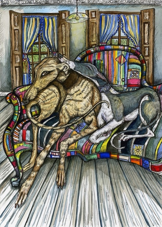 The Company of Hounds  Greyhound Art Dog Print