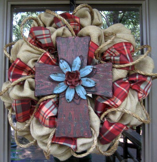 BURLAP WREATH with RUSTIC Cross...I love it!????