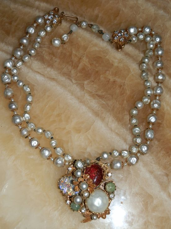 Fabulous Miriam Haskell Double Strand Baroque Pearls Pendant Necklace 1930's White Red Green Rhinestones Gold Tone