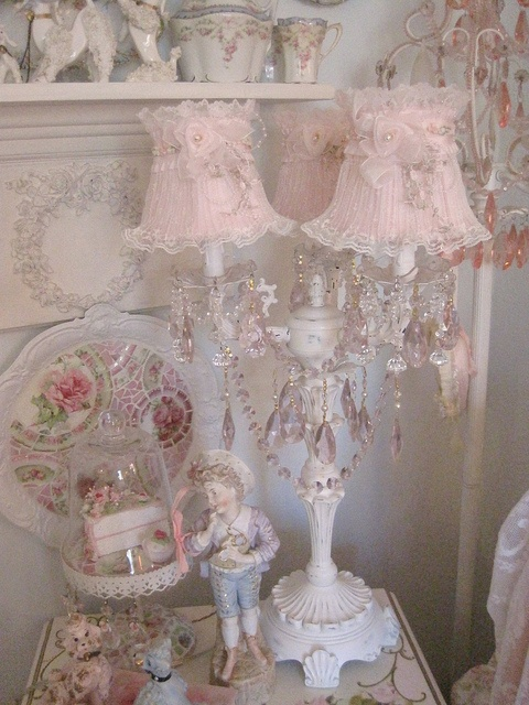 Chandelier lamp by mylulabelles, via Flickr #Shabby #chic #pink #roses