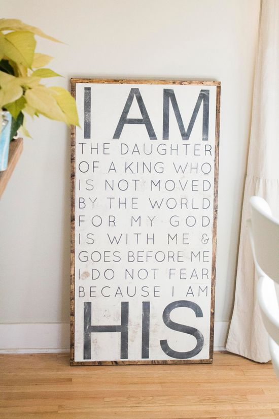 Hand Painted Sign - I am HIS. $125.00, via Etsy.