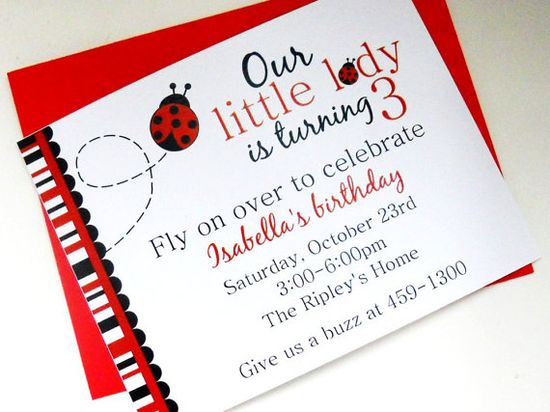 Ladybug Birthday Invitations Children's Party Red Black Bugs