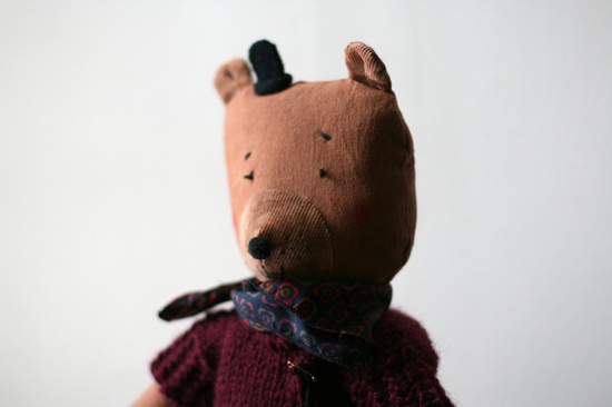 ERNEST, brown soft bear, handmade in France.