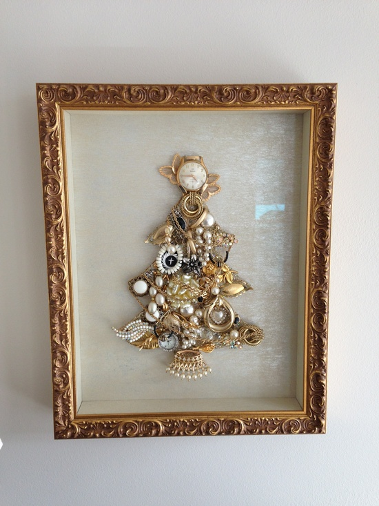 Jewelry Tree - using a Christmas tree template (I used foam board), I attached costume jewelry in random patterns.  This project was made in memory of my mom.