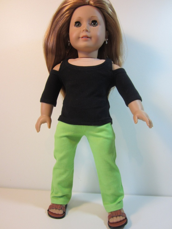 American Girl doll clothes- 2 pce . Lime green jeans and  black open shoulder t shirt top.. $24.00, via Etsy.