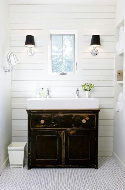 Bathroom Vanity Idea - need a small old dresser. This is EXACTLY what I want to do.