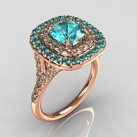 Tiffany Soleste Stlye 18K Rose Gold 1.25 Carat Cushion Aquamarine