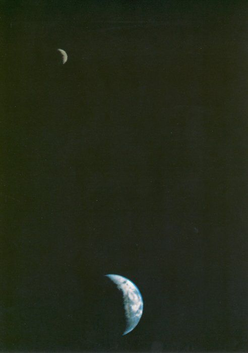 This picture of the Earth and Moon in a single frame, the first of its kind ever taken by a spacecraft, was recorded September 18, 1977