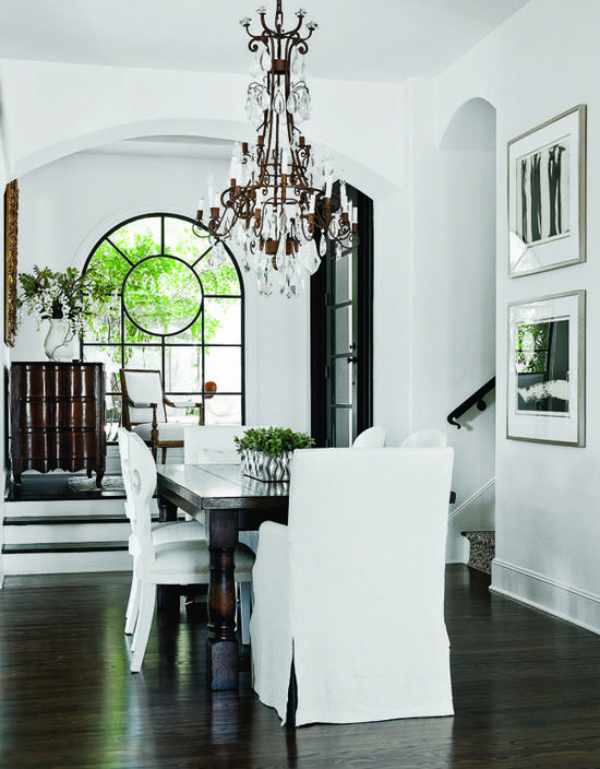 Chandelier, floors, and yet again, beautiful and classic black and white.