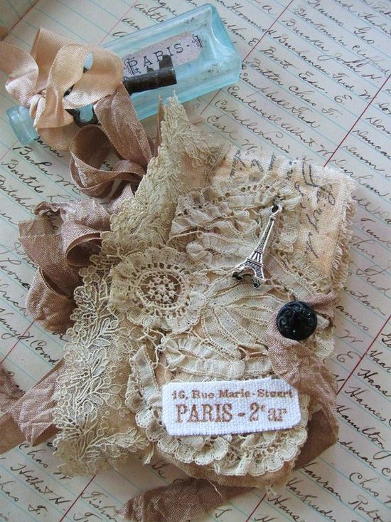 mini antique lace mixed media journal