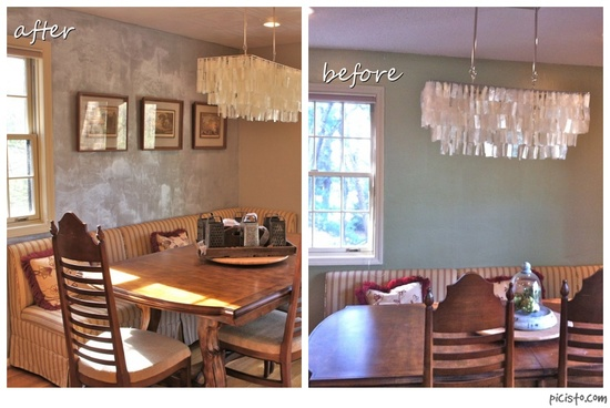 Metallic wall finish decorative painting before and after by Bella Tucker Decorative Finishes