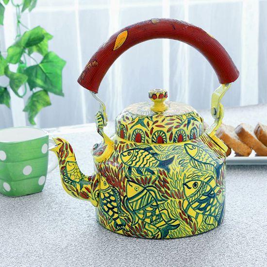 Kaushalam Tea Kettle Yellow & Red - FabFurnish.com-Kitchen-Decor