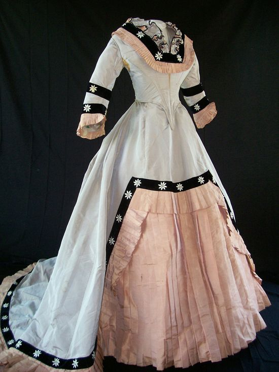 Late 1860's Peach and Gray Gown