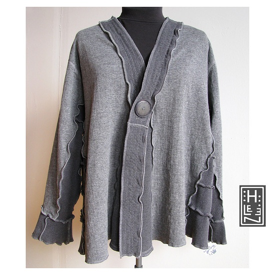 The Concretizer (Secret Lentil Luxe jacket)    Gray cotton and wool swing jacket in a variety of grays. Super generous cut with nice long lines, topped off with a large vintage button. By Secret Lentil  Helen Carter