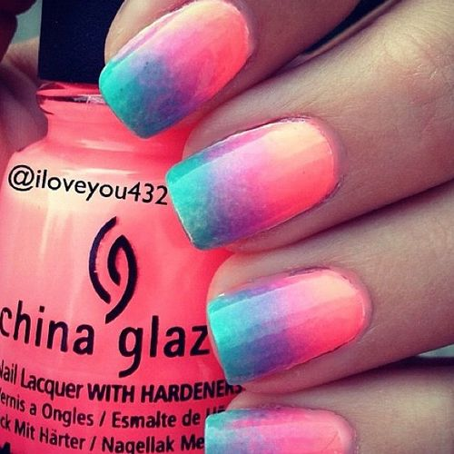 Summer ombre nails, super cute ombré