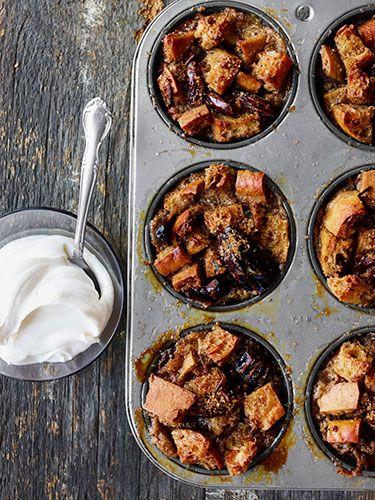 Sticky Maple-Date Bread Puddings with Yogurt Cream