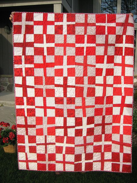 Red and White Cross Quilt by mamacjt, via Flickr
