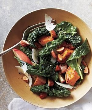 Mustardy Kale Salad With Roasted Sweet Potato and Apple recipe