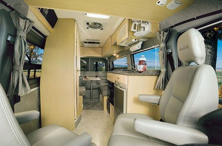 Roadtrek RVs look like this inside. All the comforts of home, just shoved together.