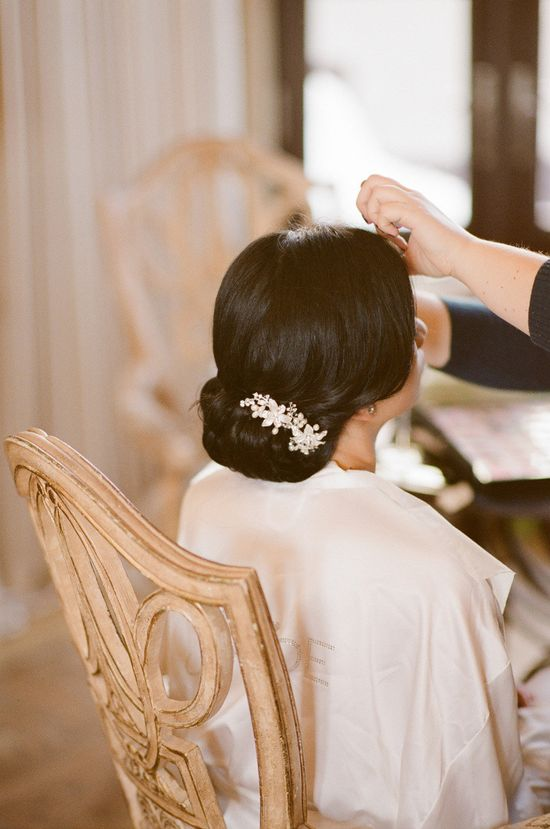 Perfect chignon with pretty jewels. Photography by robertandkathleen...  Read more - www.stylemepretty...