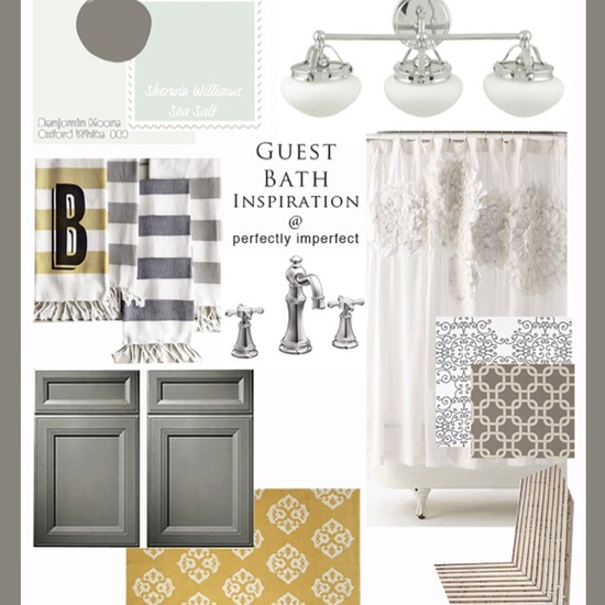 Bathroom inspiration. Love the color combo of yellow, gray, and white.  Simple yet the contrast and pop of color speaks volumes. #bathroom #inspiration #vlgcommunities