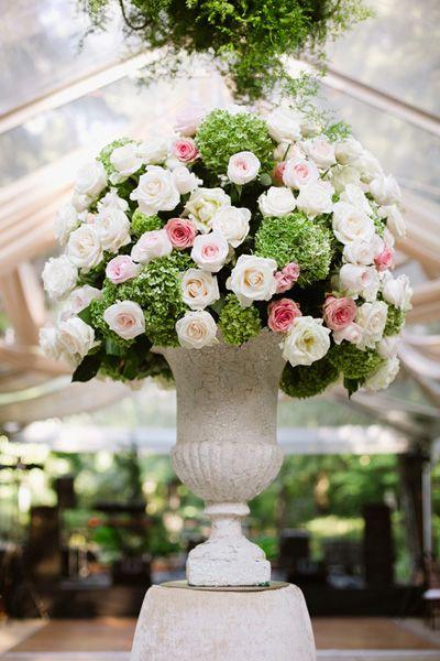 pink, white + green arrangement