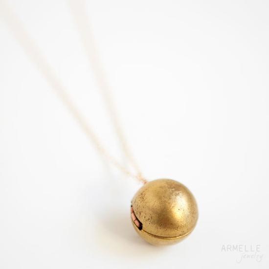 large ball locket necklace. $32.00, via Etsy.
