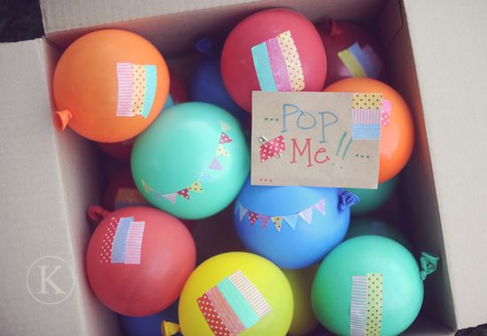 birthday balloons in a box!  put money or little gifts inside balloons, then decorate & include a card.  genius! I am going to do this for the nephews!