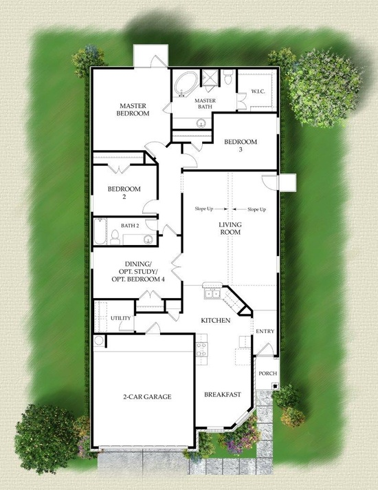 Possible floor plan. 4 bedroom ranch. Love the patio off the master.