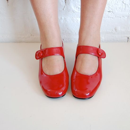 red patent leather mary janes