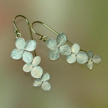 Hydrangea flower dangle earrings