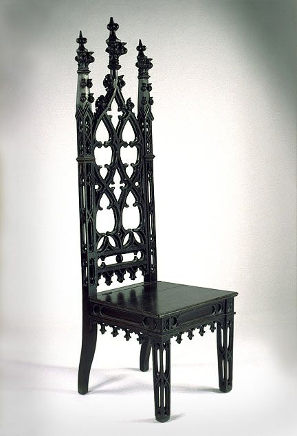 "This joint's the definition of ""Tall, Dark, & Handsome"", dontcha think?  Gothic Revival Mahoganized Oak Hall Chair"