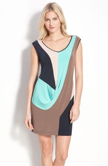 Draped Colorblock Sheath Dress